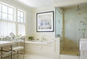Traditional Master Bathroom with Built-in bookshelf, Concrete tile , Pottery Barn Teen - Zoe Desk, Crown molding