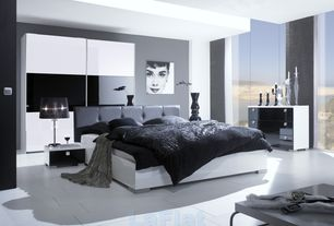 Contemporary Master Bedroom with picture window, High ceiling, stone tile floors, Columns, limestone tile floors