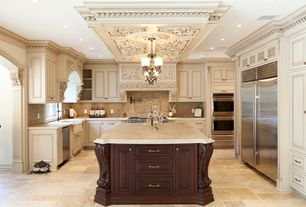 Traditional Kitchen with Custom hood, Painted cabinets, Stone Tile, limestone tile floors, Farmhouse sink, Raised panel