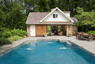 Country Swimming Pool with Barn door, Fountain, Carriage house, Pathway, Lap pool, Raised beds, exterior stone floors