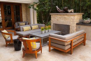 Contemporary Patio with exterior stone floors, Fence, Eurostyle teresa coffee table, West Elm Tillary Outdoor Sofa, Pathway