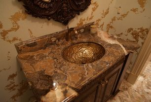 Traditional Powder Room with ceramic tile floors, Standard height, Inset cabinets, Raised panel, Undermount sink, Onyx