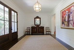 Traditional Entryway with Standard height, Pendant light, Hardwood floors, Crown molding, French doors