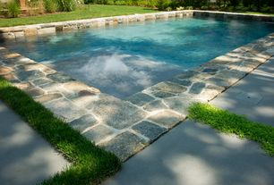 Traditional Swimming Pool with Pathway, Fence, Pool with hot tub, exterior stone floors