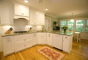Traditional Kitchen with L-shaped, Crown molding, Simple granite counters, White subway tile 3x6 glossy, Breakfast nook