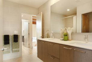 Contemporary Master Bathroom with can lights, Limestone counters, Shower, Double sink, Frameless, Master bathroom, flat door