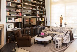 Eclectic Living Room with Smith & Noble Reverse Classic Roman Fabric Shades, Built-in bookshelf, Concrete tile