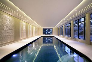 Contemporary Swimming Pool with French doors, exterior tile floors, Indoor pool, Transom window
