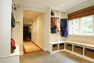 Traditional Mud Room with Built-in bookshelf, Concrete tile , Crown molding