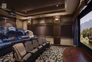 Traditional Home Theater with flush light, Carpet, Crown molding
