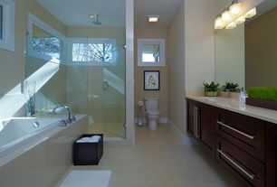 Contemporary Master Bathroom with frameless showerdoor, Flat panel cabinets, Undermount sink, Simple Marble, Master bathroom