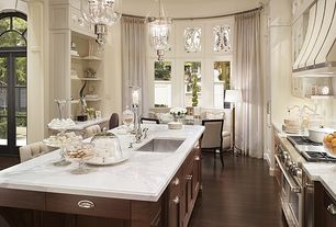 Traditional Kitchen with Breakfast bar, Marble countertop, Pendant light, Breakfast nook, Under cabinet lighting, One-wall