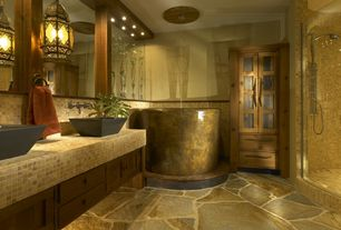 Eclectic Master Bathroom with Flush, Round japanese soaking tub, Pendant light, Flat panel cabinets, Vessel sink, Double sink