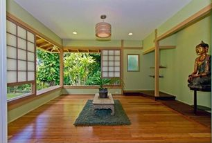 Asian Living Room with can lights, Chow Rectangular Cocktail Table, picture window, Columns, Green Shag Rug, flush light