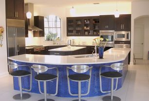 Modern Kitchen with L-shaped, Glass panel, Dura Supreme Cabinetry Hanover Panel, Pendant light, Flush, Undermount sink