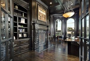 Traditional Home Office with Pendant light, Hardwood floors, Box ceiling, Arched window, High ceiling, Built-in bookshelf