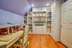 Traditional Home Office with Kempas - Kempas Natural 3 1/2 in. Solid Hardwood Plank, Hardwood floors, Built-in bookshelf