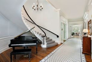 Traditional Entryway with Hardwood floors, Wainscotting, Standard height, Chair rail, Crown molding