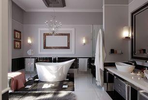 Art Deco Master Bathroom with Towel warmer, Paint 2, Chandelier, Shower, frameless showerdoor, Freestanding, Vessel sink