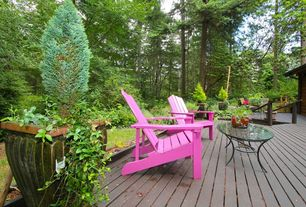 Rustic Deck with Adirondack chair, Glass coffee table, Raised beds