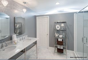 Traditional Master Bathroom with Double sink, frameless showerdoor, Pendant light, Complex marble counters, Master bathroom