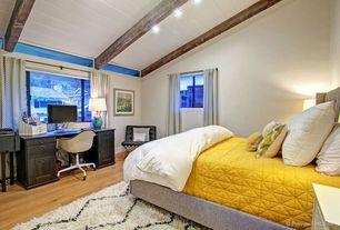 Eclectic Master Bedroom with picture window, Casement, Standard height, Hardwood floors, flush light, Exposed beam