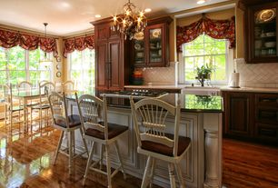 Country Kitchen with Breakfast bar, Paint 2, double-hung window, Paint 1, Paint 3, Standard height, Raised panel, gas cooktop