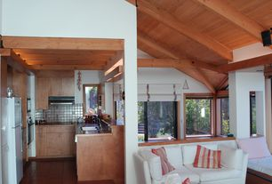 Contemporary Great Room with Vaulted wood ceiling, Hardwood floors, High ceiling, Casco Bay Throw Pillow, Stripe