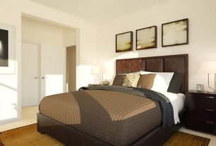 Contemporary Master Bedroom with Carpet, six panel door, Standard height, double-hung window