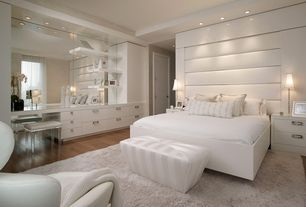 Contemporary Master Bedroom with Palm beach bench, King george bench, Built-in bookshelf, Tray ceiling, Upholstered headboard