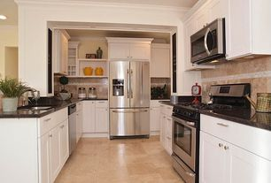 Traditional Kitchen with Flush, Shaker style cabinets, Flat panel cabinets, Crown molding, limestone tile floors, Stone Tile