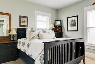 Craftsman Master Bedroom with Pottery Barn Asher Organic Duvet & Sham, Broadway Black 5-drawer Chest, Mission Queen Bed
