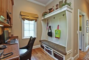 Country Mud Room with Built-in bookshelf, Organize It Large Wicker Basket, Floor And Decor Toffee Oak Solid Hardwood