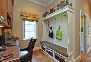 Country Mud Room with High ceiling, Casement, Hardwood floors, Built-in bookshelf