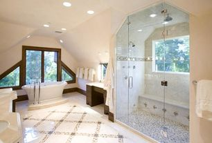 Traditional Master Bathroom with frameless showerdoor, High ceiling, large ceramic tile floors, Bathtub, Corian counters