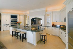 Traditional Kitchen with U-shaped, Pier 1 Stratmoor Swivel Counterstool - Alabaster, Custom hood, Simple Granite, Glass panel