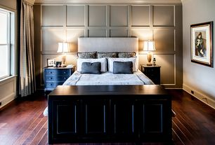 Traditional Master Bedroom with Crown molding, Hardwood floors, Standard height, double-hung window