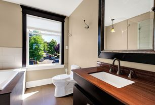 Contemporary Full Bathroom with Undermount sink, Flush, European Cabinets, Wood counters, Pendant light