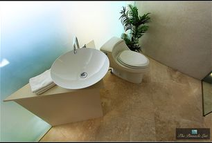 Contemporary Powder Room with Kohler k-3466-0 white san raphael one-piece elongated toilet, Powder room, Sandstone counters