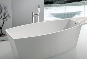 "Contemporary Master Bathroom with Gothenburg freestanding tub faucet, 67"" agustin resin freestanding tub, Standard height"