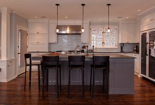 Cottage Kitchen with Nuvo Lighting Decker 1 Light Mini Pendant, Torino contemporary bar stool, Paint 1