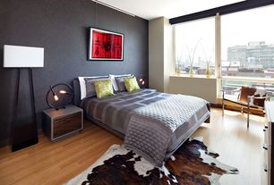 Contemporary Master Bedroom with paint2, interior wallpaper, Rawhide beige rug (6'2 x 8'), Hardwood floors
