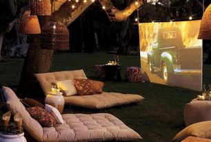 Contemporary Landscape/Yard with Cotton/Fibre-Foam Futon, Handcrafted Pink Kantha Pouf Ottoman, BenQ W1070 Projector