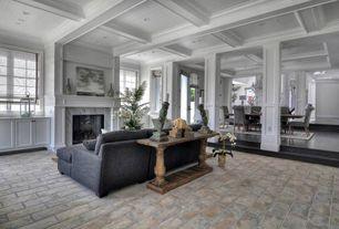 Traditional Living Room with Columns, terracotta tile floors, sandstone tile floors, Sunken living room, Crown molding