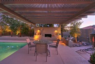 Mediterranean Patio with Bird bath, Custom Attached Wood Pergola, Acadia 5-piece Sling Patio Glass Top Table Dining Set