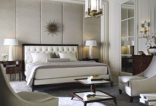 Contemporary Master Bedroom with Standard height, Chandelier, Carpet, Wall sconce, Crown molding