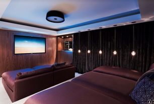 Contemporary Home Theater with Box ceiling, can lights, Pendant light, Standard height, Built-in bookshelf, Carpet