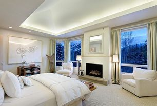 Modern Master Bedroom with flat door, High ceiling, Carpet, specialty window, Built-in bookshelf, can lights, Fireplace