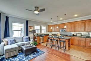Modern Kitchen with Standard height, electric cooktop, Simple Granite, limestone tile floors, Ceramic Tile, Pendant light