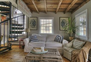 Cottage Living Room with Ikea Ektorp Sofa Cover, Vintage Wood Lobster Trap, Exposed beam, Plantation shutters